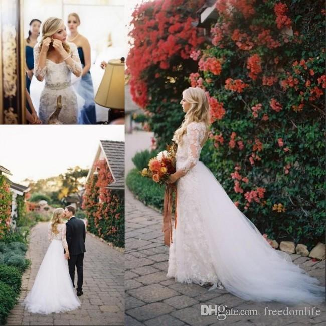 Garden Country Wedding Dresses with Detachable Train Over Skirt Floor Length Keyhole Back Lace Bridal Gowns Long Sleeve robes de mariée