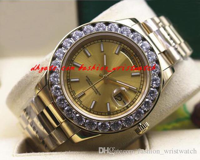 Mode Luxus Neue Herren 2 II Solid 18 kt Gelbgold 41mm Größere Diamantuhr Keramik Lünette Automatische mechanische Männer Uhren Top Qualität