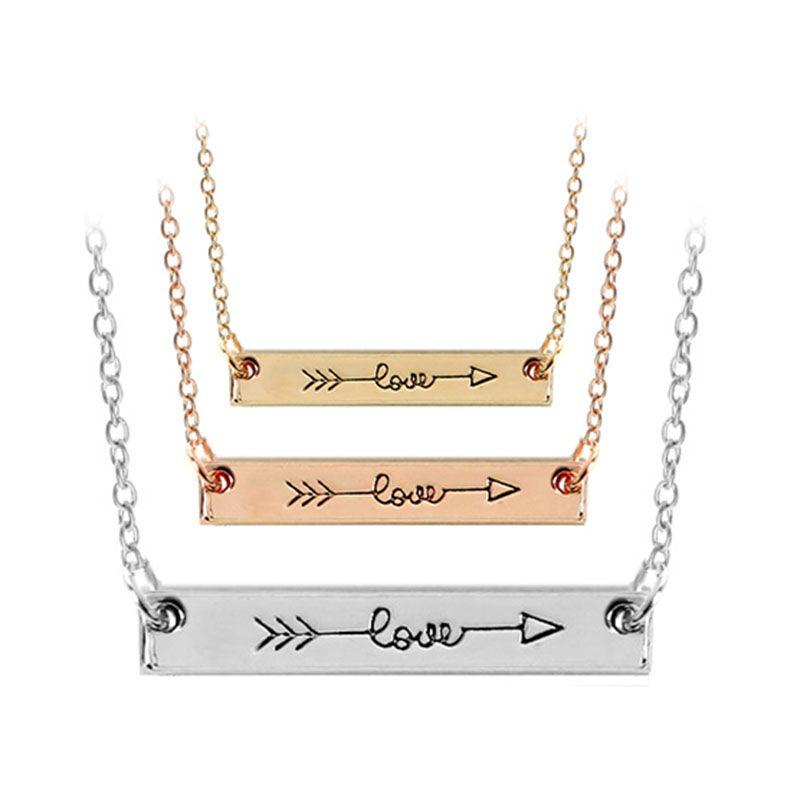 Carta de amor collar de oro rosa minimalista Cupido barra de color Palo collar Simplemente horizontal de la flecha de amor de las mujeres hip hop nave de la gota de la joyería