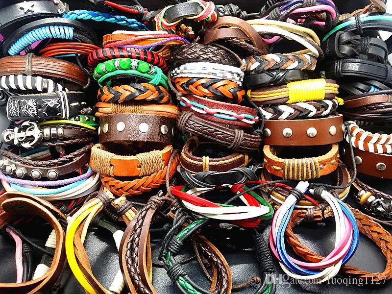 Оптовая ассорти 100 шт. / лот mix стили ручной работы кожаные манжеты этнических племен модные браслеты новый