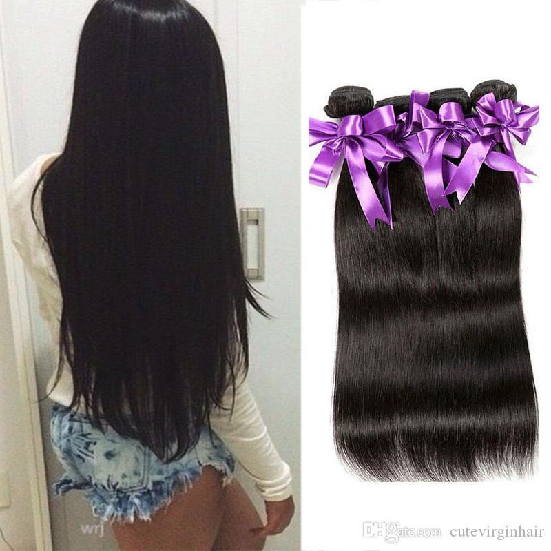 Brazylijski Dziewiczy Human Hair Proste 4 Wiązki Gorące Sprzedawanie Brazylijski Proste Włosy Wiązki Wiązki 100% Ludzkich Włosów Rozszerzenia Naturalny Kolor