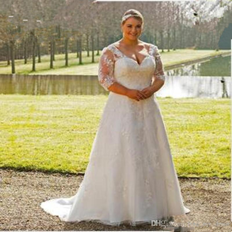 Discount Plus Size Wedding Dress Open Back Garden New Transparent 3/4  Sleeve Lace A Line Sweep Train Appliques Bridal Gowns Custom Made Vintage  ...