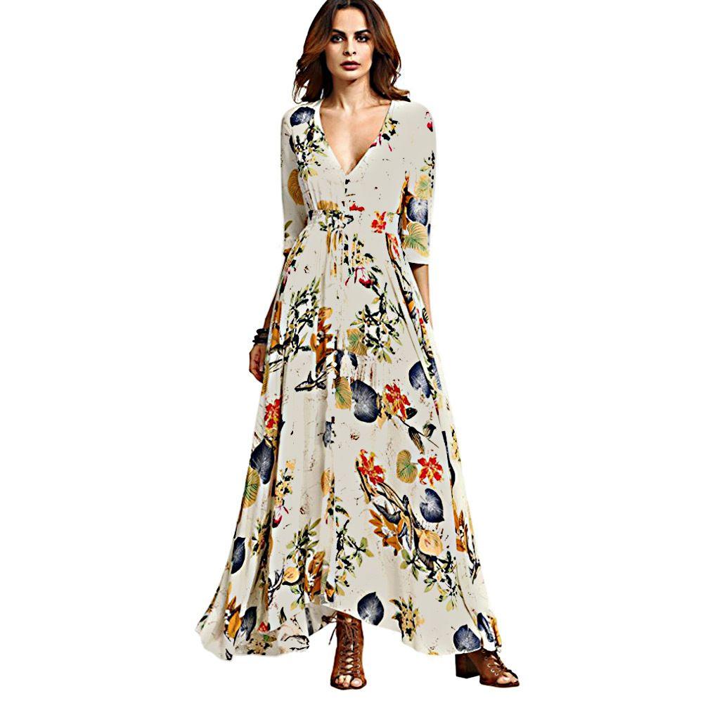 f8c75a9bcfedb7 Frauen Sommer Boho Kleid Maxi Lange 2019 Mode Tiefem V-ausschnitt Drei  Viertel Blumendruck Strand ...