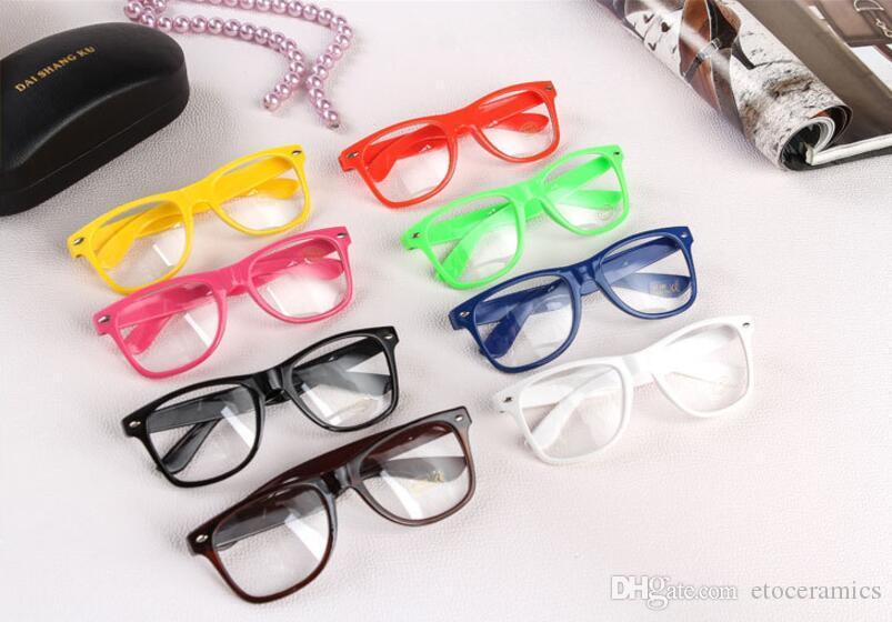 300pairs/lot Rockabilly Punk Geek Retro Clear Lens Glasses Color Sunglasses