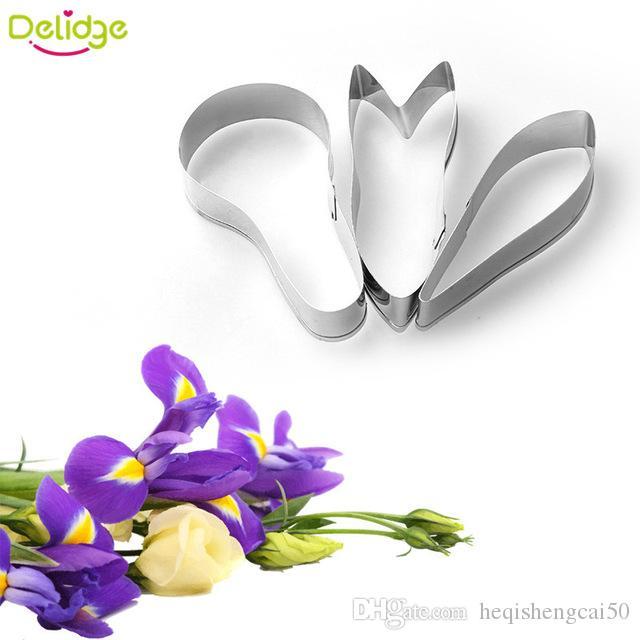 Delidge 3 pcs/set 3D Iris Flower Cookie Mold Stainless Steel Flower Petals Cookie Cutter Cake Decoration Fondant Baking Mould