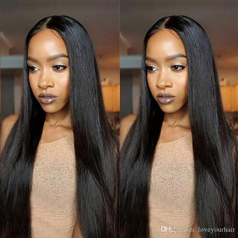 Venta caliente larga sedosa peluca recta simulación pelucas brasileñas del pelo humano pelucas rectas sedosas de color natural para mujeres negras