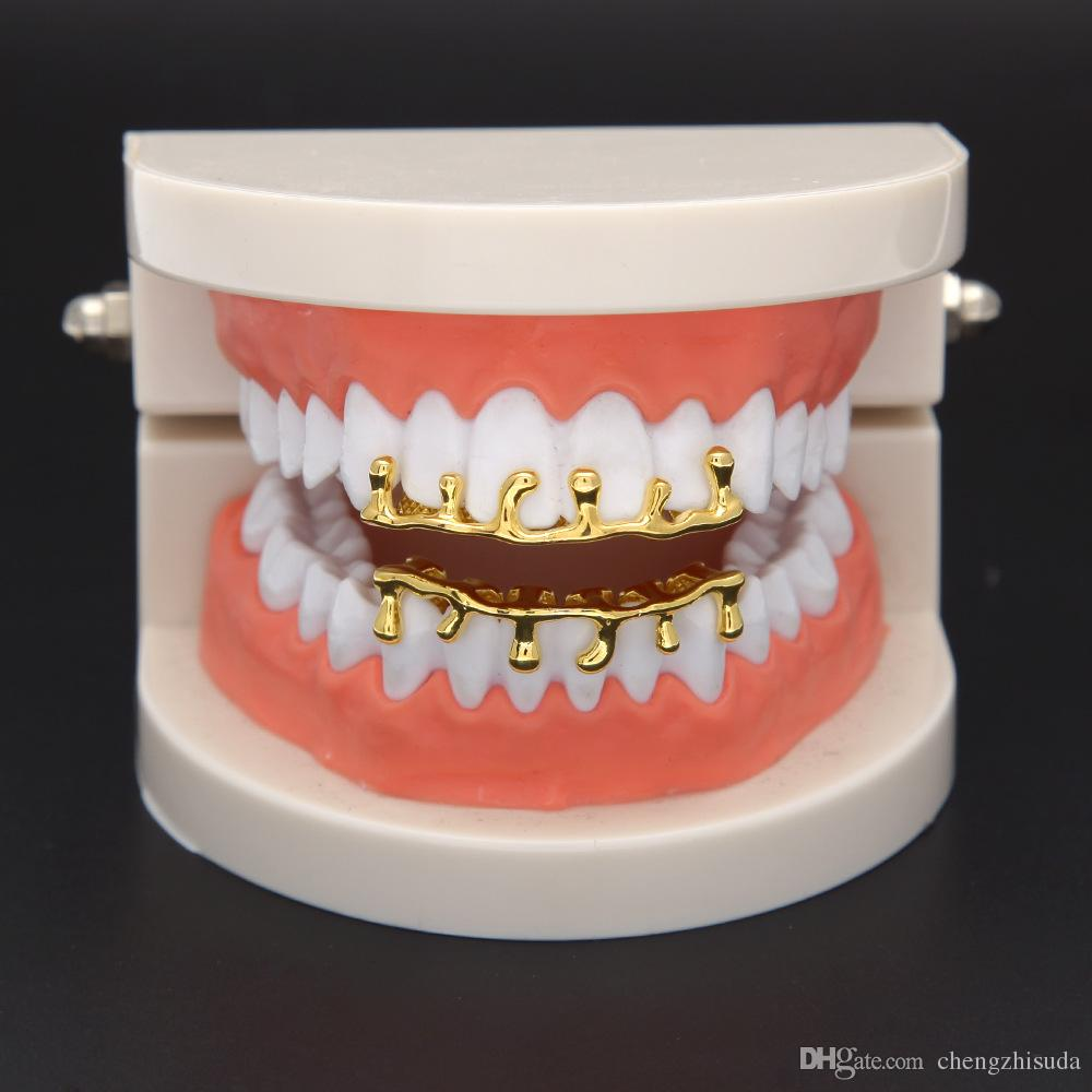 New Custom Fit Rose Gold Gold Color Hip Hop Teeth Drip Grillz Caps Lower Bottom Grill Silver Grills
