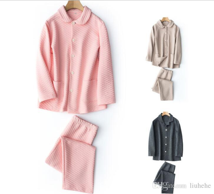 الخريف والشتاء طبقة الهواء الدافئ ملابس المنزل دعوى محبوك القطن منامة القطن سترة زوجين نماذج الملابس القطنية رياضية