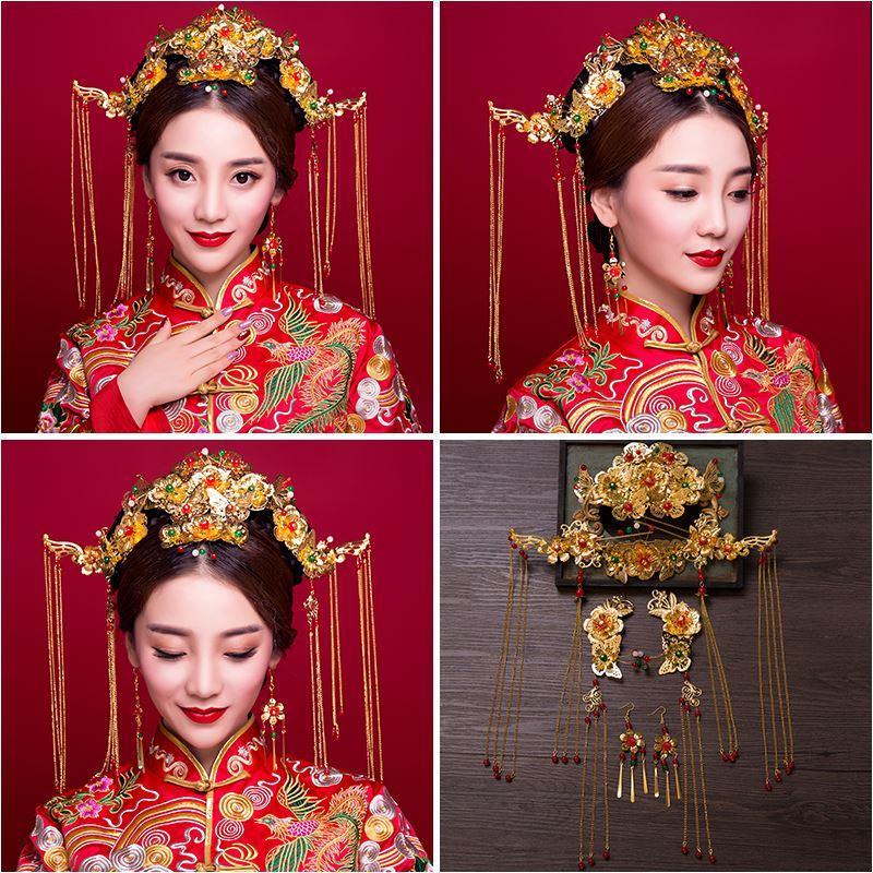Woman headdress hair Lomen costume bride wedding wedding headdress Feng Chai hair ornaments suit Xiuhe clothing accessories 6210807