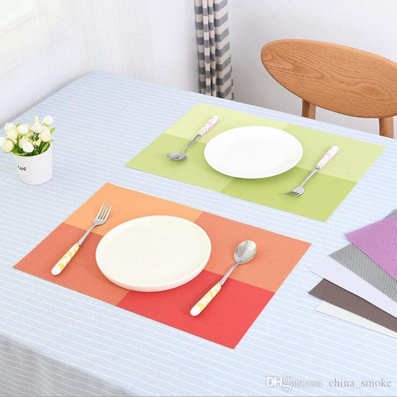 PVC Table Mat Heat-insulated Tableware Easy Clean Western Dinner Bowl Placemat Kitchen Pad 7 Color 43.5*29.8cm
