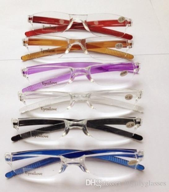 20 stuks / partij Populaire plastic leesbril, onbreekbaar! Sterkte van +1.00 tot +4.00 Veel kleuren accepteren gemengde bestelling