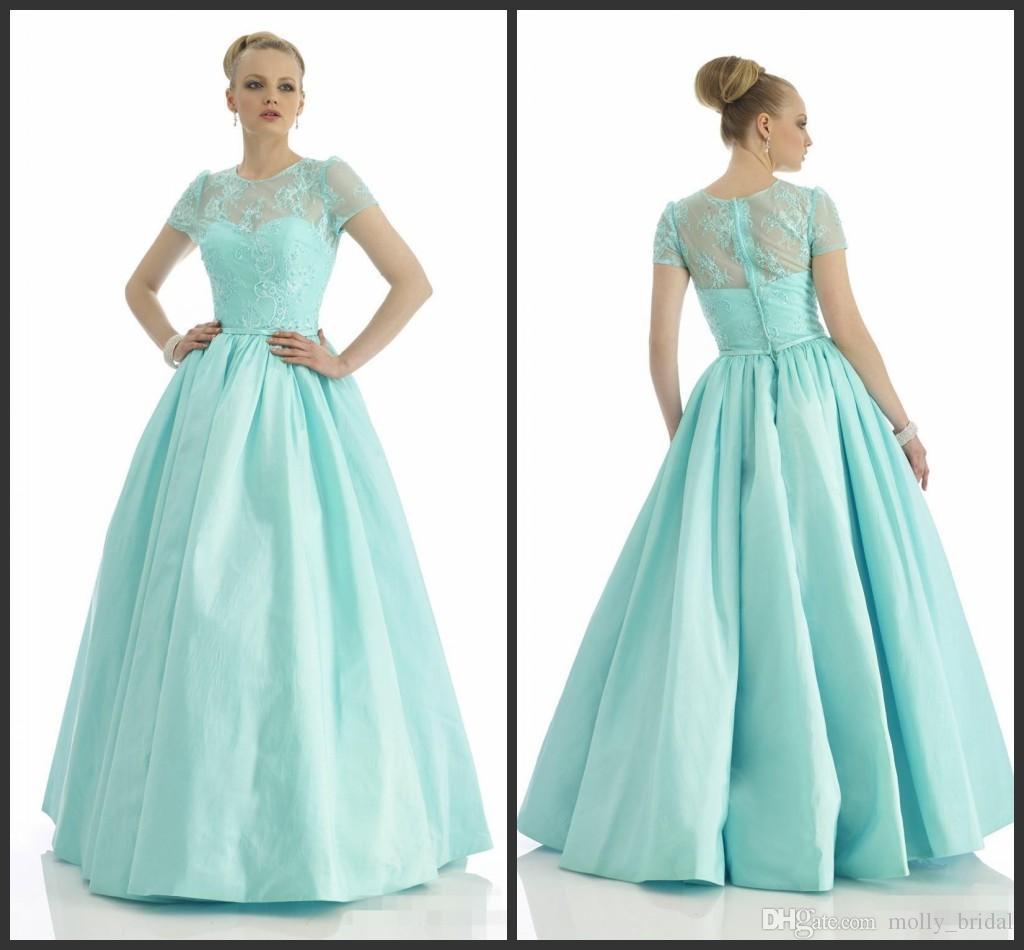Long Evening Dresses Elegant Design Jewel Neck Short Sleeve Cheap ...
