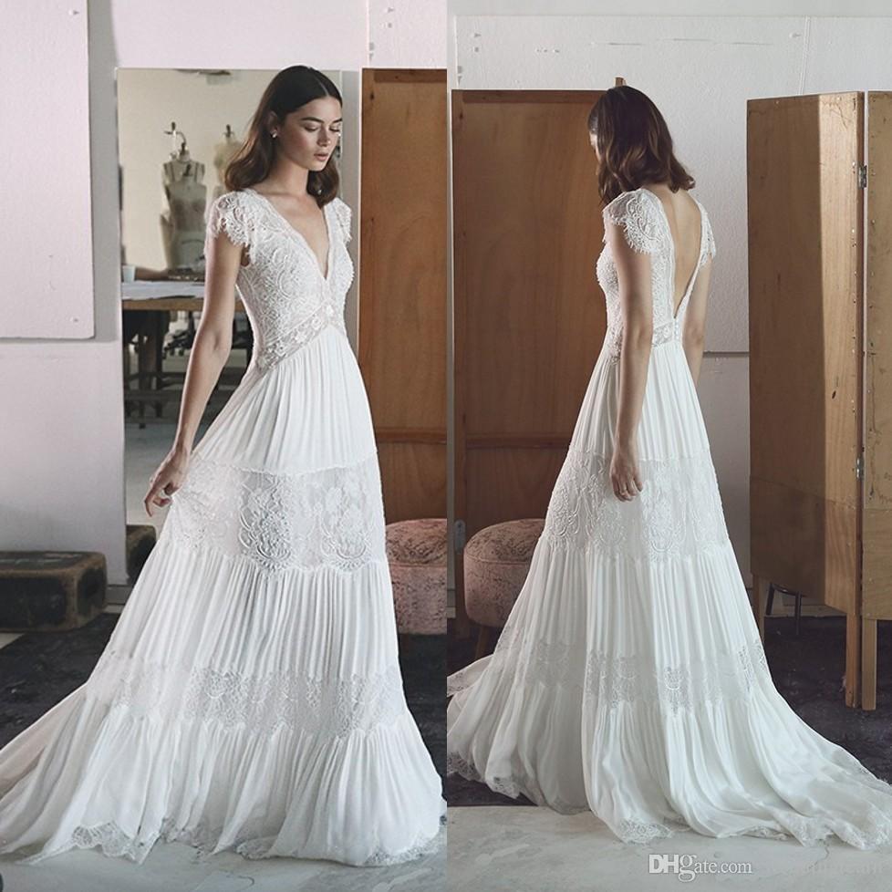 Lihi Hod robes de mariée en dentelle bohème profonde col en V une ligne robe dos nu plage de mariage longueur de plancher en mousseline de soie plissée robes de mariée