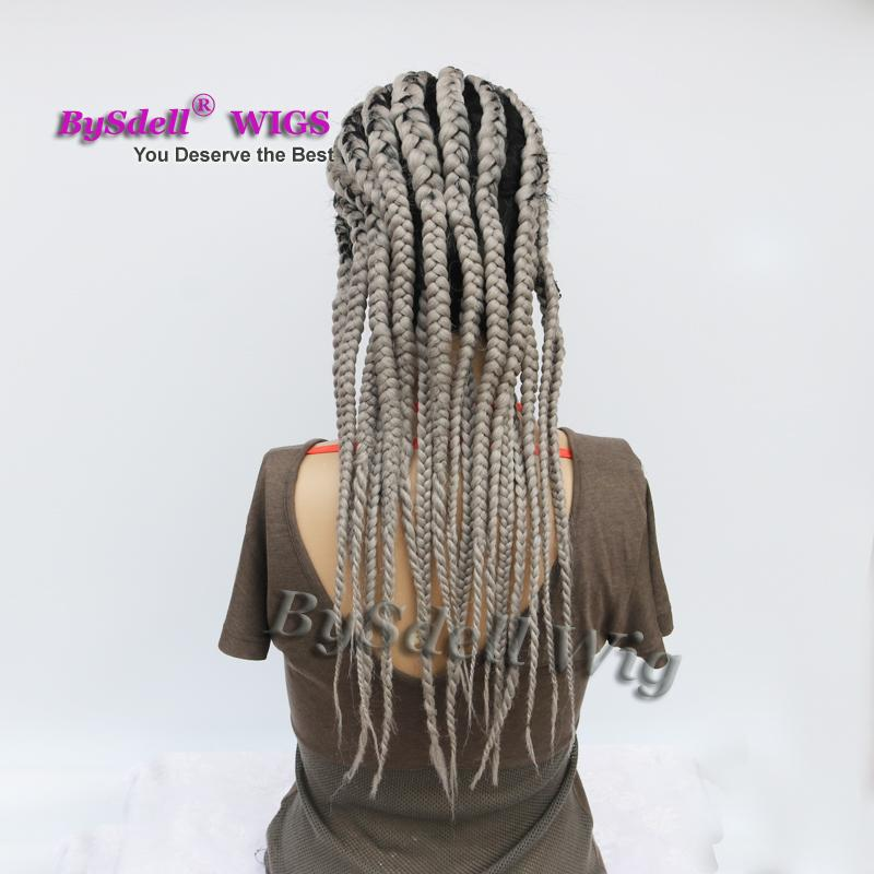 Watermelon Hairstyle Fat Braids Wig Synthetic Grey Color Hair Braided Lace Front Wigs With Baby Hair For Black White Woman Lace Wig Front Celebrity Style Wigs From Tthouse2 180 91 Dhgate Com