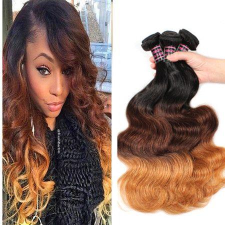 Omber #1b/4/27 Honey Blonde Body Wave Hair Extension Brazilian Human Weave Hair Ombre Blonde Hair Extension 3pcs Brown Blonde Bundles
