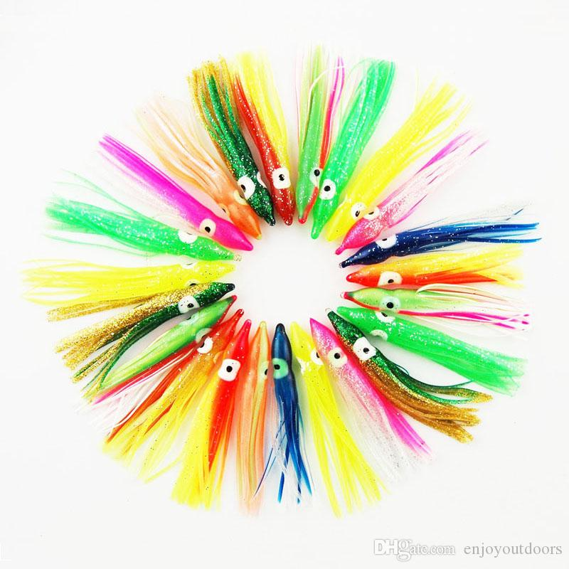 50pcs 11cm Soft Plastic Octopus Fishing Lures For Jigs Mixed Color Luminous Silicone Octopus Skirt Artificial Jigging Bait