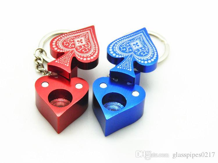 Pipa di tabacco a forma di cuore con motivo a forma di pipa Lega di alluminio creativa per fumatori Tubi di fumo Portasigarette portasigarette
