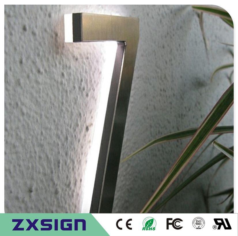 15cm extérieur 304 # arrière en acier inoxydable allumé numéros de signe de LED pour la maison, 6 pouces de digitals maison LED haute