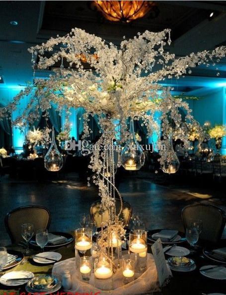 Новый 6 шт. 90 см высокий акриловый Кристалл свадебное дерево со светодиодной подсветкой / свадьба центральным / свадебный реквизит