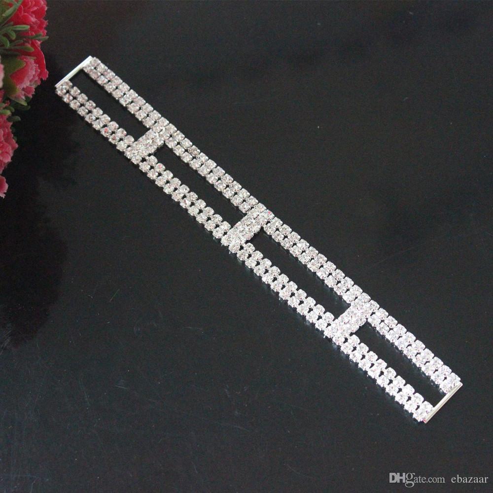 NEW 10pcs 16cm Crystal Rhinestone Bikini Connectors/ Buckle Silver Metal Chain For Swimming Wear Bikini Decoration