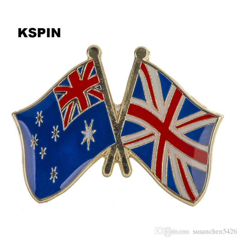 호주 영국 잭 우정 플래그 레이블 핀 배지 배지 아이콘 가방 장식 브로치 옷 XY0113에 대 한