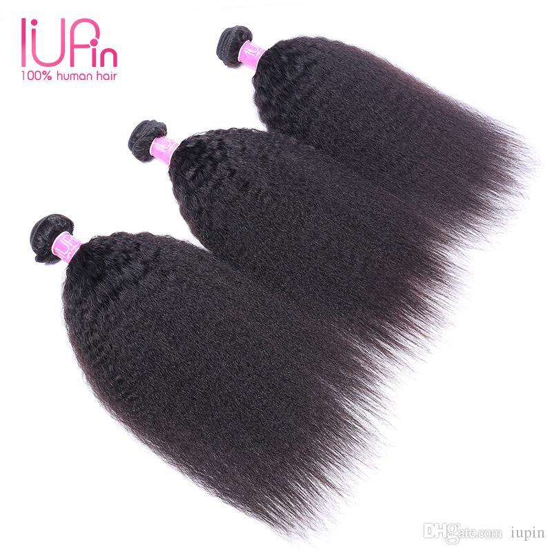 Rizado cabello humano recto 100% tramas de cabello brasileño sin procesar 3 Bundles peruano malasio indio Virgen virginal rizado cabello liso