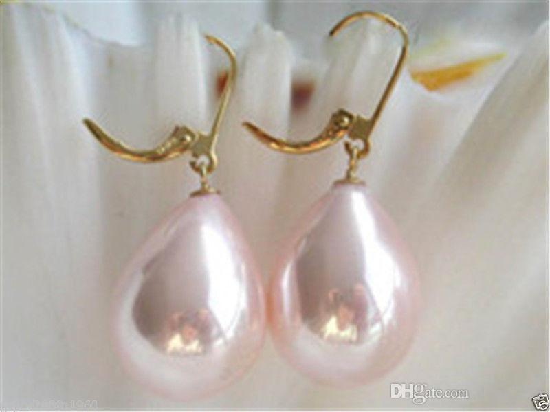 Nuovo 12x16mm rosa South Sea Shell perla goccia orecchini placcati oro N83