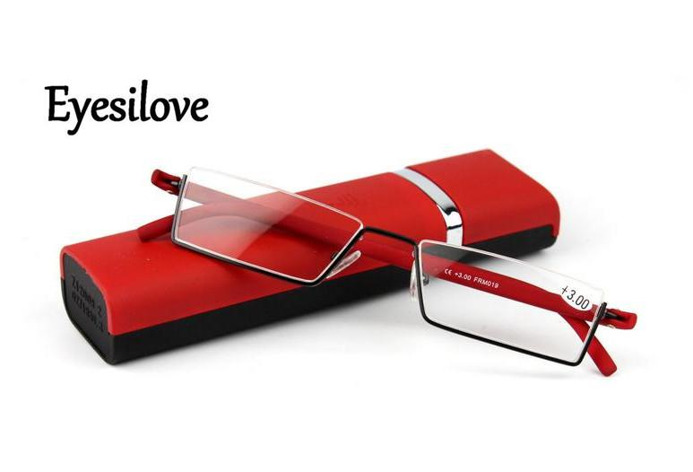 Retail Fashion women reading glasses hlaf-rim TR90 reading glasses high quality go with the case red