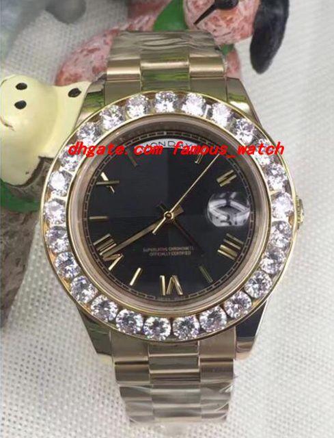 럭셔리 시계 2 II 솔리드 18캐럿 옐로우 골드 41mm로 큰 다이아몬드 시계 세라믹 베젤 기계 남성 시계 최고 품질의 새로운 도착