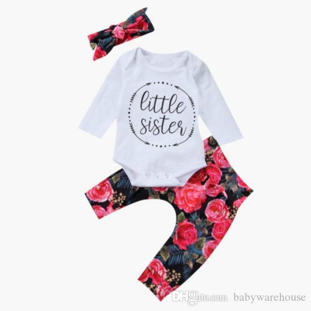 Bonito Do Bebê Meninas Roupas Definir Little Sister Carta Romper + Preto Peorry Calças + Headband 3 PCS Outfits Conjuntos de Roupas Crianças Boutique Outono