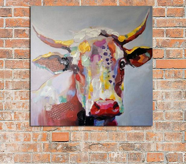 Framed Lovely Cow,Hand-painted Modern Venice Animals Art Oil Painting,Home Wall Decor On High Quality Canvas in Multi sizes C018