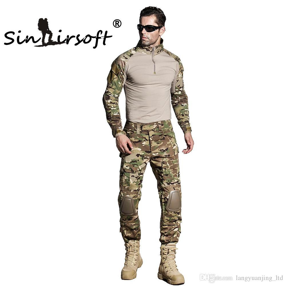 SINAIRSOFT Gen3 Army Tactical Battle Tight T-shirt camouflage Combat uniform Airsoft clothing T-Shirt+Pants Men Hunting Clothes Shirt Pants