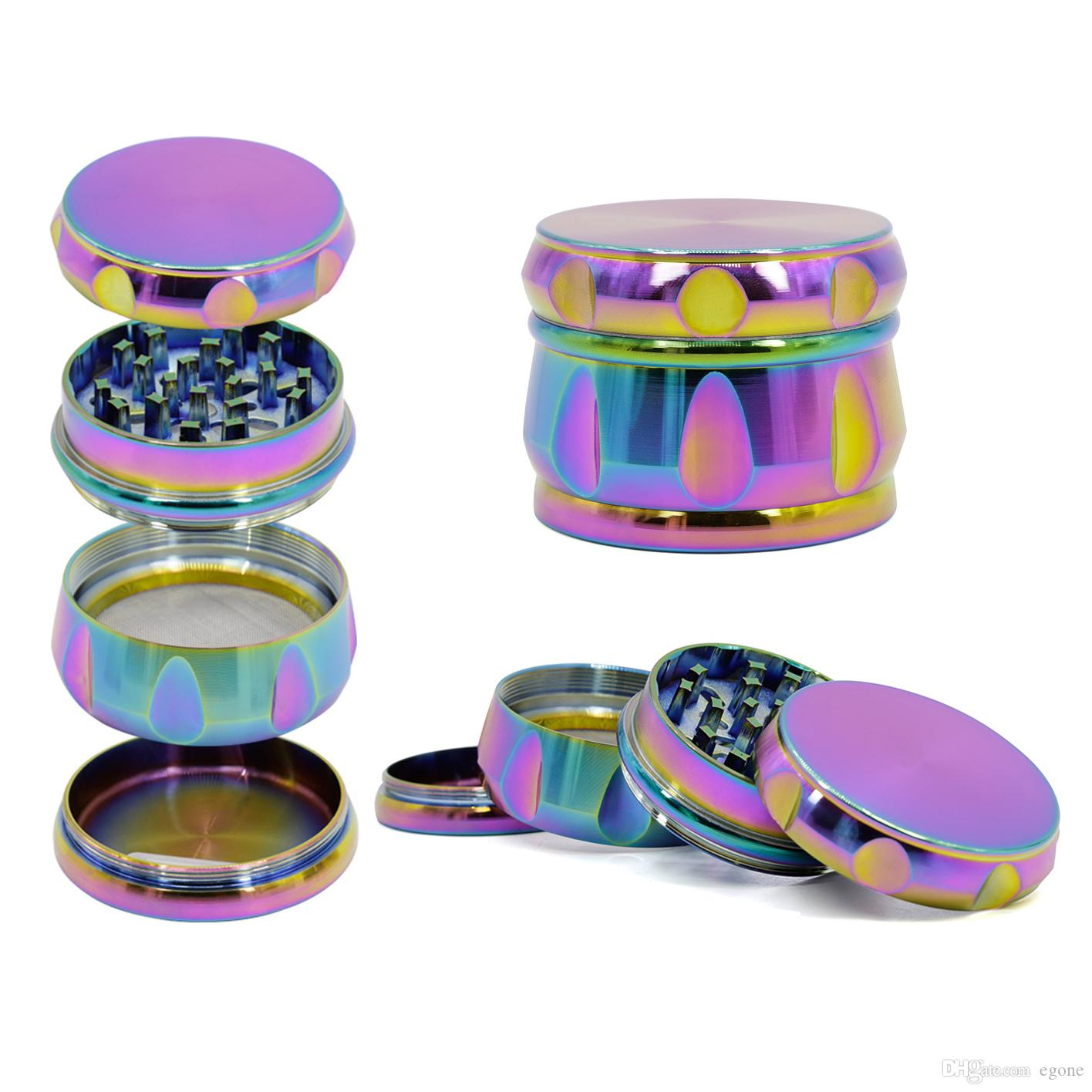 Smerigliatrici per tamburi Rainbow 63mm Smerigliatrice per metalli 4 Strati Herb Spice Crusher Materiale in lega di zinco Diamond Shape Grinder