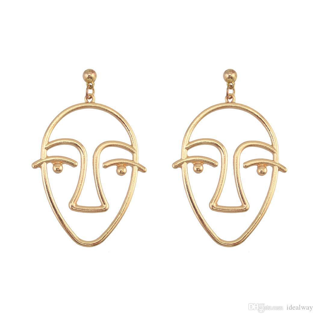 المثالي 2 لون جديد أزياء الذهب والفضة مطلي وجه بسيط على شكل أقراط