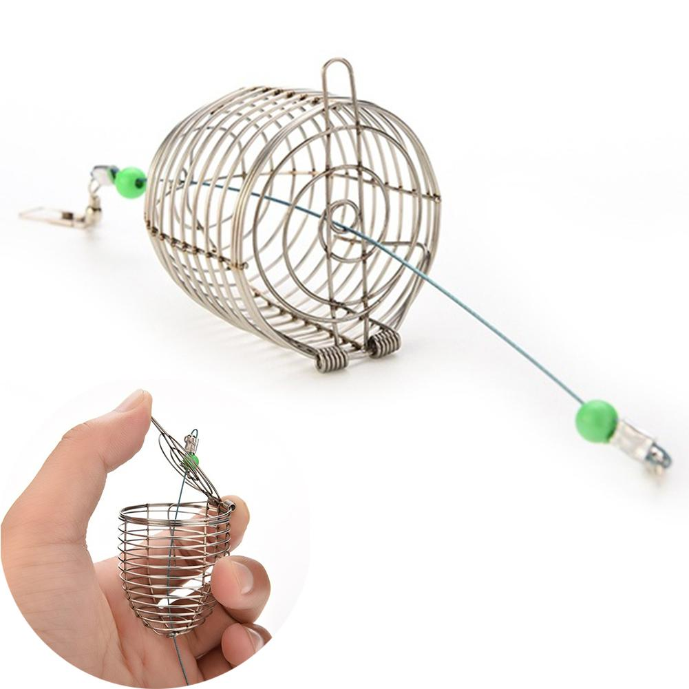 Al por mayor-1PCS cebo trampa trampa de pesca titular de la cesta titular de alambre de acero inoxidable gruesa jaula de pesca cebo de peces señuelo accesorio de la pesca