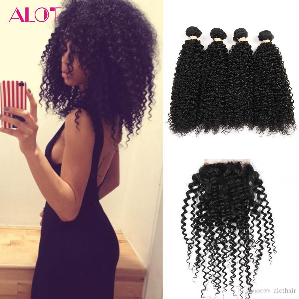 Brazilian Hair Closure and Bundles Natural Color Kinky Curly Brazilian Hair 4 Bundles with Closures 100% Unprocessed Human Hair Lace Closure