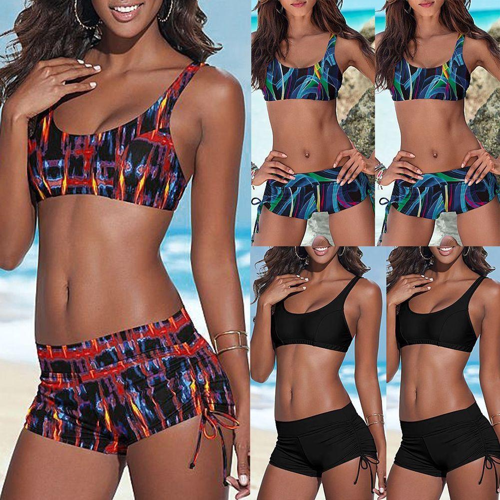 Bathing New Push-up Triangle Set Shorts Suit Bikini Swimsuit Padded Biquinis Swimwear Mid Waist Women Beach 2021 ISP Bandage Hkjnp