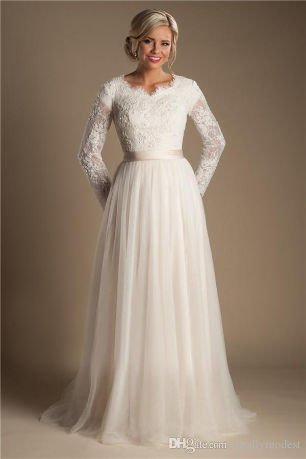 Discount Ivory A Line Beaded Lace Tulle Modest Wedding Dresses With Long Sleeves Scalloped Neck Buttons Up Back Full Sleeves Long Bridal Gowns Modest