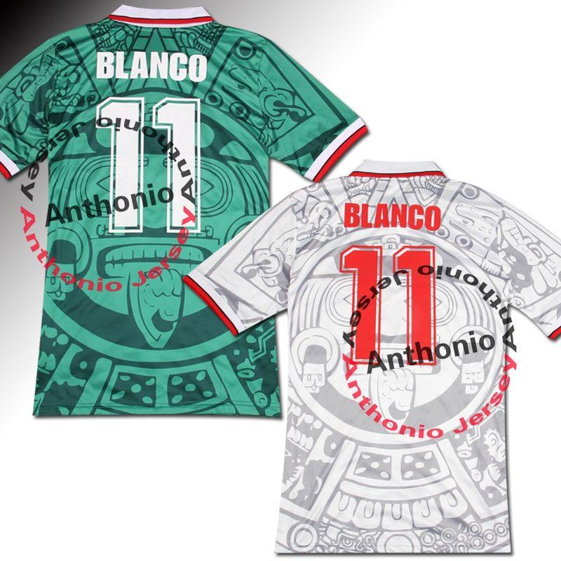 1998 Messico Retro Vintage Blanco Blanco Tailandia Qualità Maglie da calcio Uniformi Maglie da calcio Camicia Camicia Ricamo Logo Camiseta Futbol