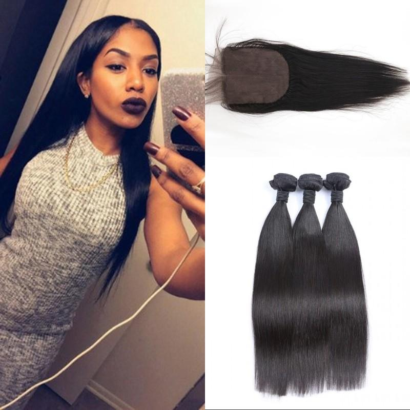 Peruvian Hair Bundles with Silk Base Closure 10-26 inch Unprocessed Human Hair Weaves with Closure Straight Hair Extensions FDSHINE