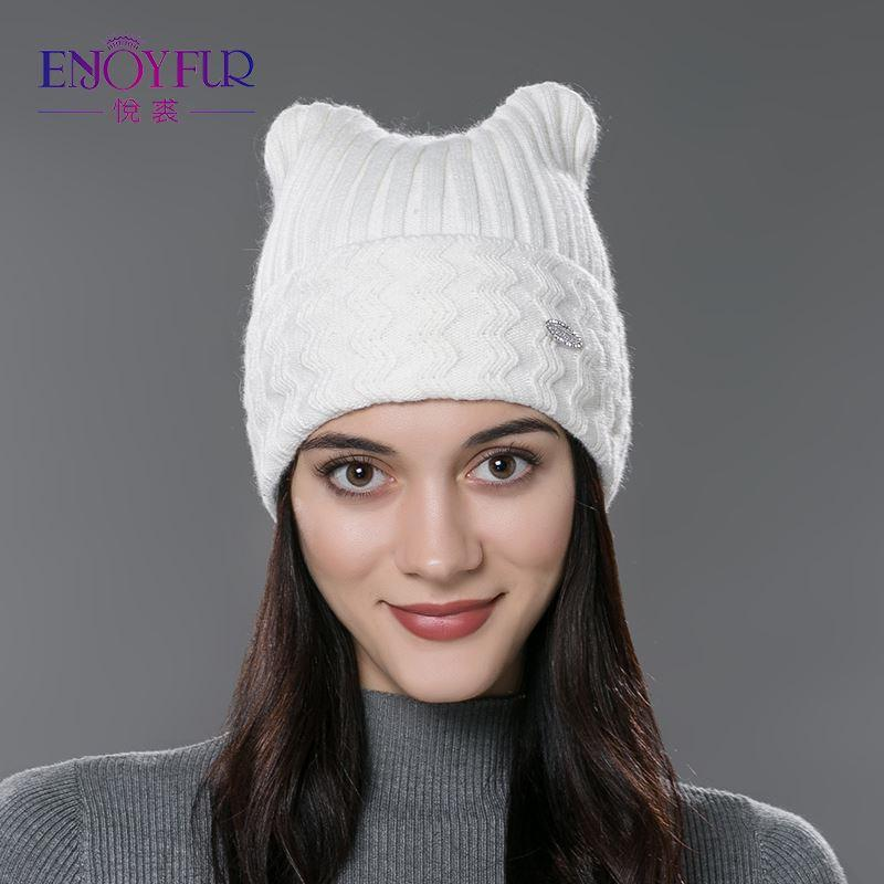 Brand 2017 New Winter Cotton Knitted Caps For Parent-child Lovely Cat Ear Beanies Cute Casual Hats New Arrivals Gorros