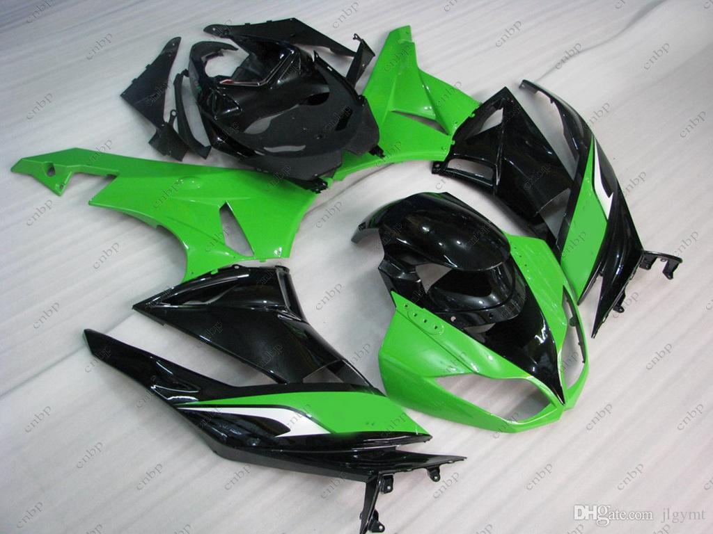 Full Body Kits for Ninja Zx-6r 2009-2012 Bodywork Ninja Zx-6r 2010 Green Black Fairing Zx6r 09 10