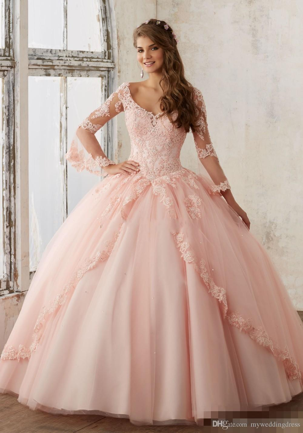 Best Baby Pink Blue Quinceanera Dresses 2017 Lace Long Sleeve V Neck ...