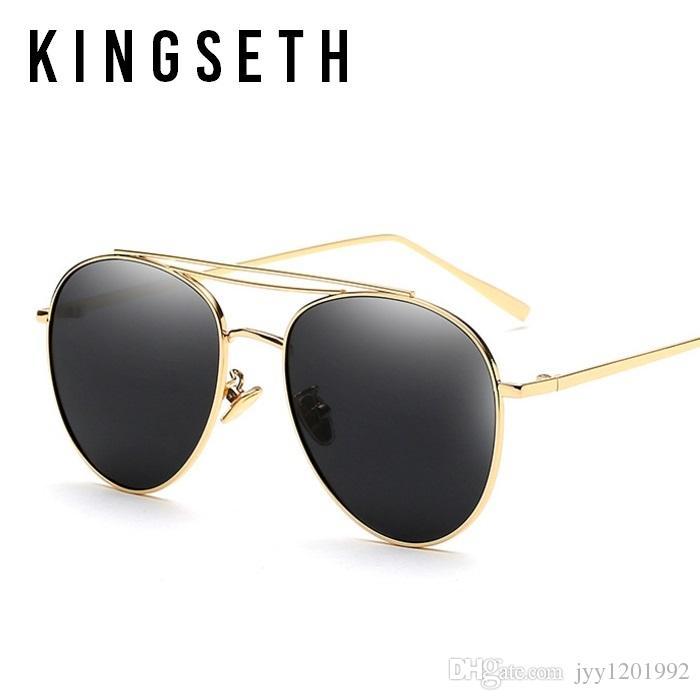 KINGSETH Nouvelle arrivée de haute qualité Ultra Light Lunettes de soleil pilote en métal pour les hommes Femmes Mode Ronde Lunettes de soleil classique UV400