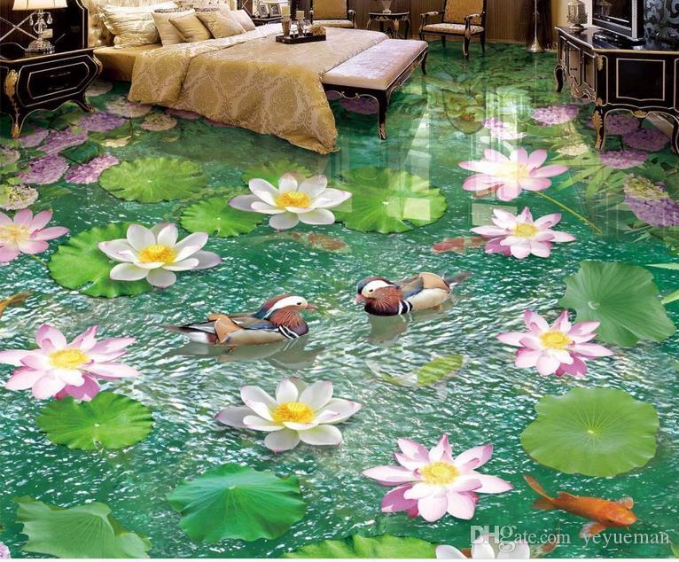 водонепроницаемый охраны окружающей среды в 3D-ПВХ полы водонепроницаемый самоклеющиеся обои подгонять лотосов цветы 3D полы обои