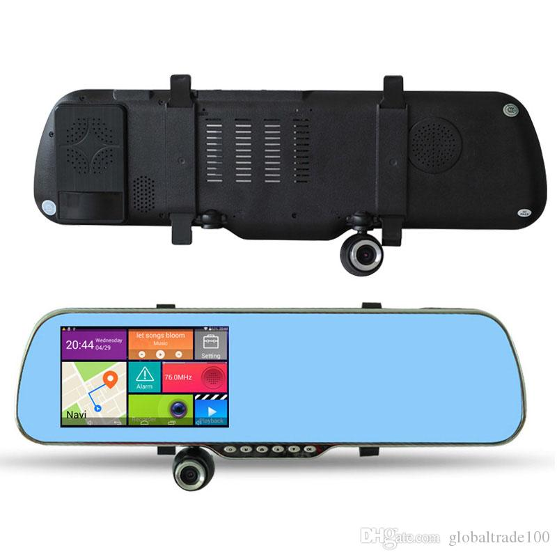 5 inch Android Car Mirror GPS Navigation X5 Car DVR WIFI HD 1080P Digital Video Recorder + Rear View Camera A23 8GB With Map
