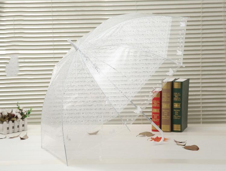 Ombrello trasparente in pizzo Ombrello verde lungo manico dritto automatico Ombrello trasparente in pizzo all'ingrosso
