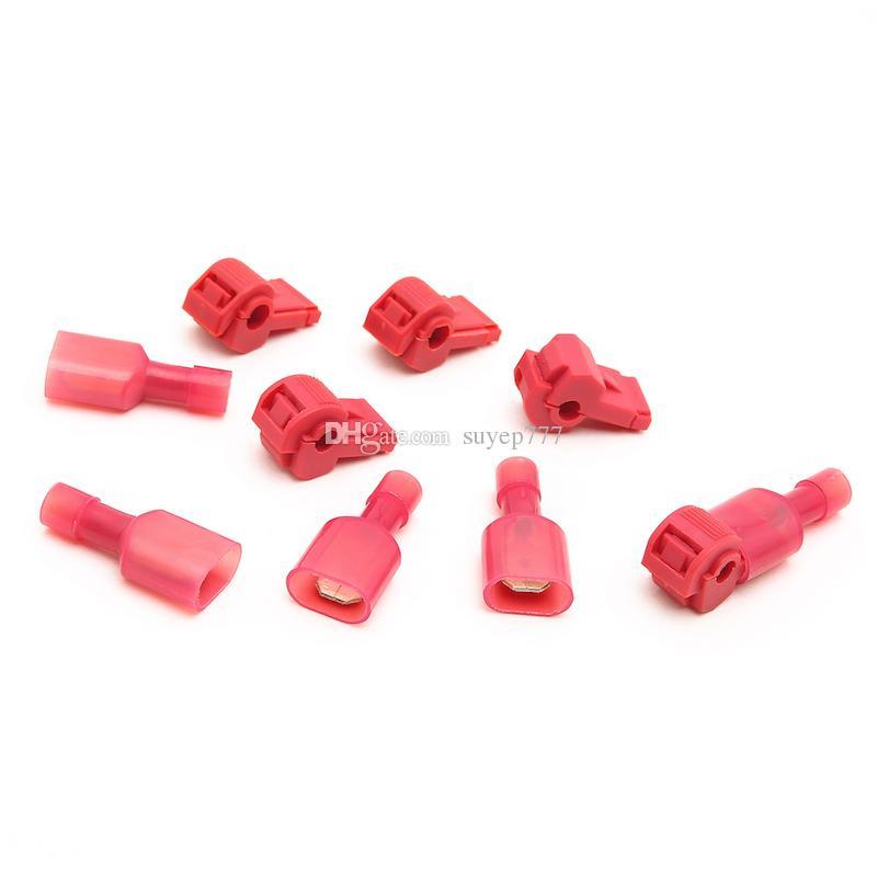 Suyep selbstabisolierende elektrische T-Tap Draht Spade-Steckverbinder 22-16 Gauge Quick Splice Drahtklemmen und vollständig isolierte männliche Butt Terminal C