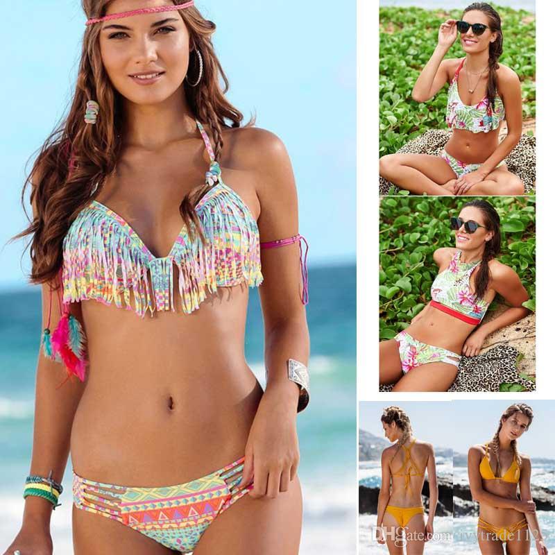 2017 nuevas llegadas borla bikini verano playa flores imprimir traje de baño mujeres bikini dama de calidad superior HOT Slim Bottom Tankini Swimwear 6 colores
