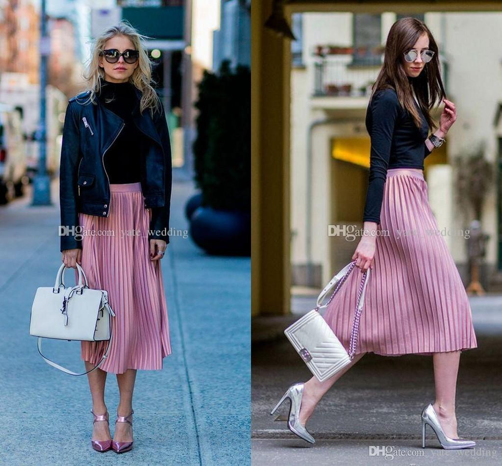 Fashion Street Style Women Skirts High Waist Pleated Satin Tea Length Midi Skirts For Women Spring Autumn Maxi Skirts